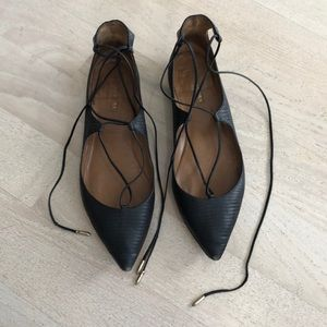 Black Aquazzura lace up flats